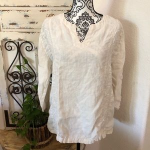 Hot cotton 100% linen embroidered detail top